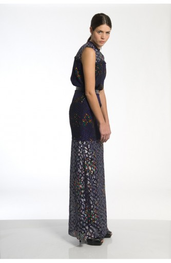 Caterina Gatta Long purple lame' dress