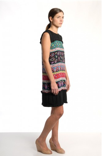 Caterina Gatta Short dress black plissé