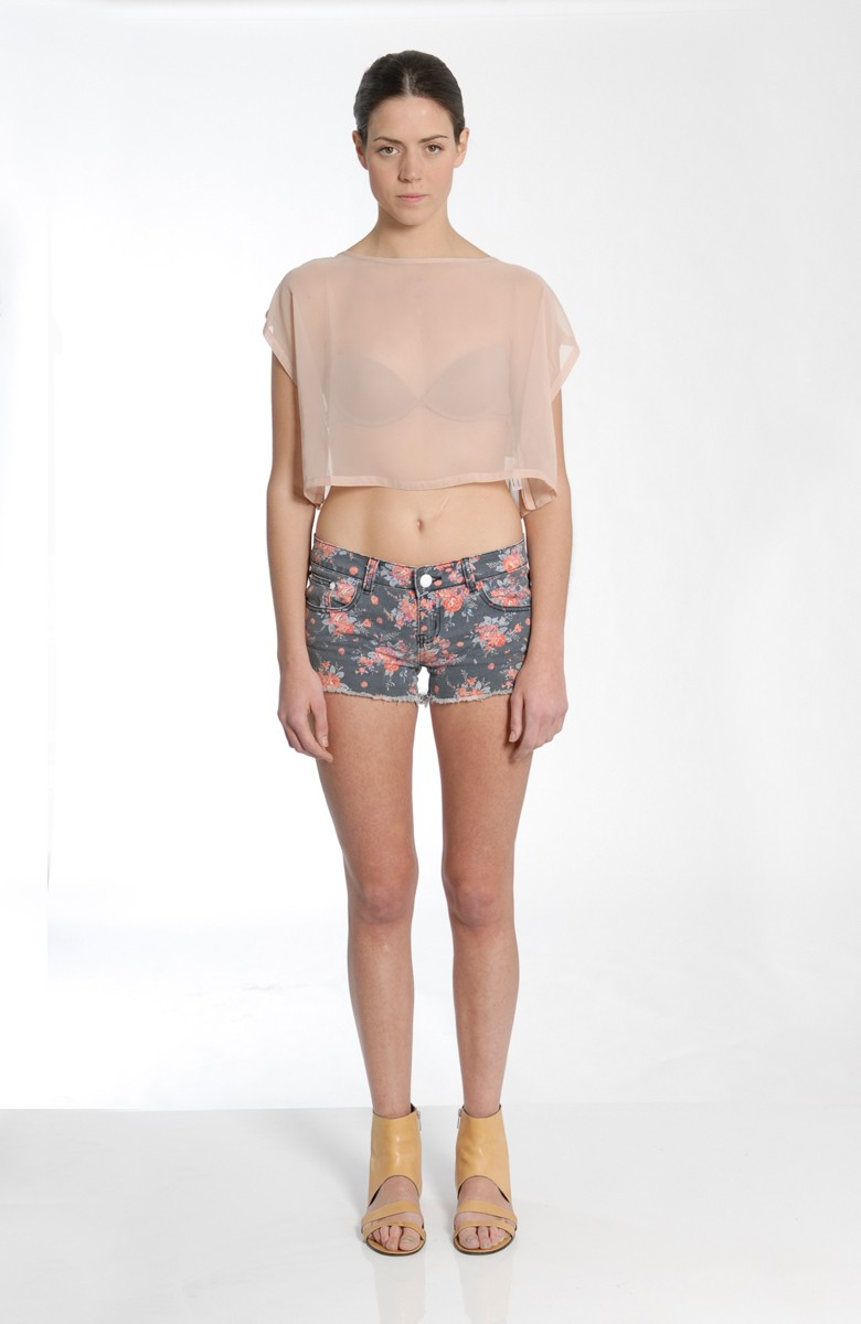 VACCINE - Simple cut sheer crop top